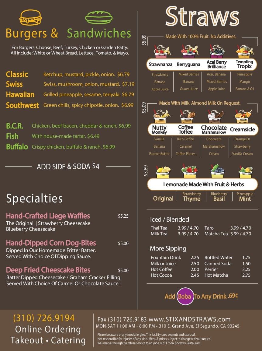 Straws Menu - Burgers and Sandwiches