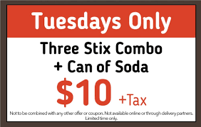Tuesday Special - Three Stix Combo Plus Soda